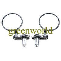 Free Shipping Brand New 2 Round Motorbike Rear View Mirrors - Black Grey Checkerboard Design