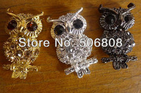 Lovely Owl 30pcs Silver / Gold / Metalblack Tone With Crystal Rhinestone Bracelet Connector Beads Jewelry Findings -20x38