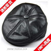 Factory best selling good quality winter men genuine leather beret duckbill cap hat Free shipping