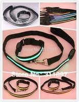 Black Nylon Band Dog Pet Flashing LED Collar + Lead Leash Rope Set (1 collar match 1 leash) 10sets/lot