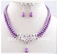 Silver Double Strand Lilac Glass Pearl and Rhinestone Crystal Bridal Jewelry Neacklace and earrings Set