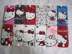 Hello Kitty Cute case for iphone 4 4S 4G bling glossy Cartoon heart cute Hard plastic cases back skin 500pcs Free shipping DHL(China (Mainland))