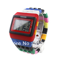 Hot Sell Rainbow Style Unisex Shhors Brick Watch with Led Night Light free shipping