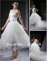 Ball Gown Strapless Asymmetrical Organza Wedding Dress With Removable Cathedral Train