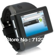 free shoping  Smart phone watch with Android 2.2 OS,  WIFI, GPS Intelligent mobile phone mobile phone watch