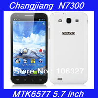 "Freeshipping original Changjiang N7300 5.7"" IPS 1280*720 mtk6577 dual core 1GHz android 4.0 1GB RAM GPS Russian unlock phone"