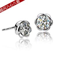 Flower flower rose hearts and arrows cubic zircon 925 pure silver stud earring female earring