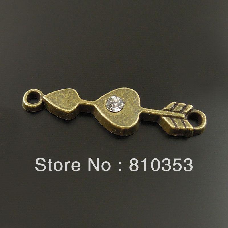 Vintage Antique Style Bronze Tone Alloy Cupid Arrow Sweet Love Pendant Connector 100pcs 36639