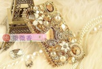 Gem diamond sachets shell for iphone 4 4s  case 1PC free shipping more model case can choosed