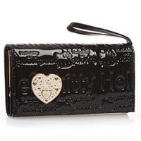 High quality hot hello kitty wallet sell New style leather card bag purse Hand bag Clutch bags balck gold gift 011 BKT317