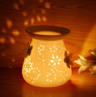 Free shipping ceramic small night light fragrance lamp romantic atmosphere lamp,free gift 10ml essential oil and 10 candle