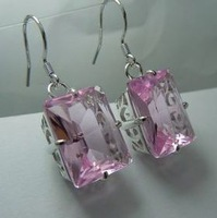Free delivery sell like hot cakes Victorian carving hollow out pink Joe palmer stone 925 silver earring
