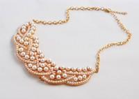 SJN005 Wholesale imitation pearl Choker statement Necklaces women collier colares bijuterias perle