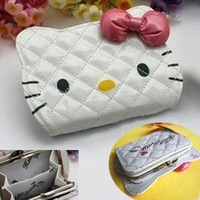 Lovely hello kitty face bowknot Wallets Holders clutch wallets Card pocket Holders Purses Wallets Credit card bag AA509 BKT325