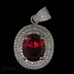 Oval Cut 10x12mm 4.74Ct Solid 14Kt White Gold Diamond Red Spinel Wedding Pendant(China (Mainland))