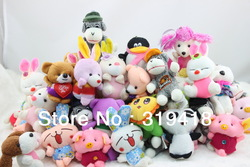 100PCS/LOT Rabbit Bears Pig monkeys dogs...Lovely animals toys Plush&amp;stuffed doll wedding birthday gift Children below 10cm New(China (Mainland))