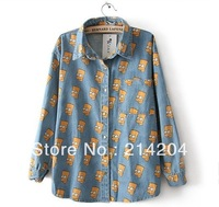 Free shipping!Cartoon Portrait Head Bart Simpson Blue thick print denim shirt one pocket girls hot fashion spring lovers clothes