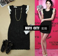 freeshipping One-piece dress lace elegant slim lace one-piece dress black ol dress ola028 brand