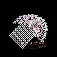 Peacock insert comb hair accessory hair accessory comb rhinestone wheel brush 18k full rhinestone hairpin insert comb hairpin