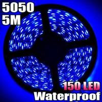 Free Shipping! Blue 5M 5050 SMD Waterproof Flexible LED Strip Light 150Leds 30LEDS/Meter