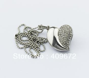 retail genuine 2G 4G 8G 16G 32G usb drive thumb drive usb flash drive memory jewelry shiny heart Free shipping+Drop shipping