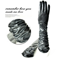 2013 Vintage women's long design copy leather gloves  winter women's long gloves