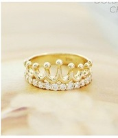 The Korean jewelry Queen 's blessing flash Crystal crown ring+FREE SHIPPING*C35