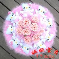 Free Shipping, cartoon hellokitty doll  birthday gift valentine's day wedding Decorative Flowers   toy bouquet  flower bouquet