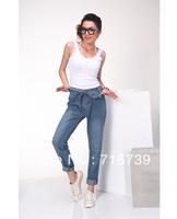 wholesale women's big size baggy jeans,fashion loose Feet jean pants wide leg Suction line belt trousers,free shipping,ID:1908