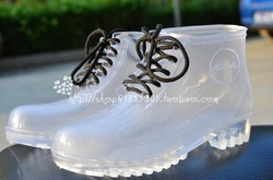 HOT! Women's shoes slip-resistant platform crystal jelly shoes transparent martin rain boots rainboots rubber(China (Mainland))