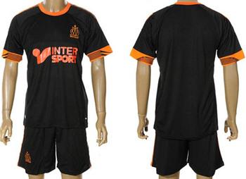 hot sell! +12/13 Marseille black soccer jersey sets(jersey+shorts),soccer unifroms,football jerseys +free shipping