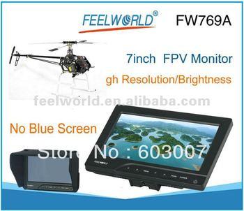 NO Blue / Black Screen 7 Inch HD FPV Monitor W/Sunhood NTSC PAL FW-769A + Free Shipping