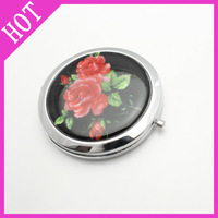 2012 hot selling Free shipping(5pieces/lot) cosmetic pink beauty bird mirror 3 flower mirrors metal wholesale LF-MP-0021A