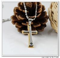 Fashion Stainless Steel  Golden Cross Necklaces Pendants Mens Jewelry  2013, Wholesale&Free shipping WP338