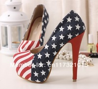 Free Shipping~! Fashion Nightclub Flag Pattern Navy Style Waterproof Ultra High Heels Shoes Woman Ladies' Heels