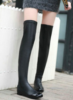 Black Real Leather Side Zipper Flat Heel Over Knee Thigh High Boots,US 4-9,Womens/Ladies Shoes