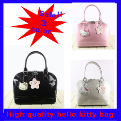 Free Shipping Wholesale Retail Hello Kitty Black Pink White Waist Pocket Business schoolbag tote bag handbag Luggage shoulder(China (Mainland))