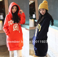 2012 winter women's new arrival fleece thickening hoodies, plus size long design sweatshirt