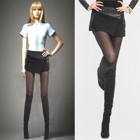 High waist basic woolen boot cut jeans loose shorts plus size female autumn leather mosaic shorts culottes