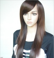 2013 New Fashion/High quality,70CM 180G Indian Blended Human Hair Full lace wigs #2 black,#2t33 dark brown,#2t30 light brown