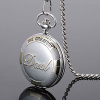 Free Shipping Best Dad Father Gift Quartz Pocket Watch with Chain