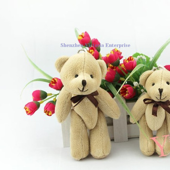 Store Special Offer Promotion; 30PCS Kawaii Joint Teddy Bear Plush Toy Doll; Size in 13CM Small Wedding Gift; Key Chain DOLL