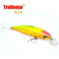 Free shipping Trulinoya  Floating   Minnow Bait fishing  fishing lure fishing hard bait  DW19 #C  Fluorescent yellow  85mm 14g