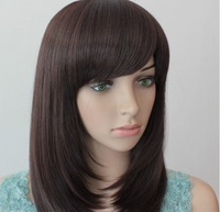18inch 165G Indian Blended  Human Hair medium size wigs(#2 black,#2t33 dark brown,#2t30 light brown) ,free shipping