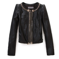 Fashion slim short design PU clothing female zipper short jacket suit 2012 spring and autumn women's plus size