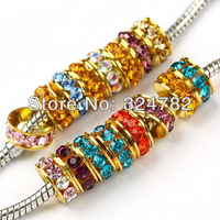 Free Shipping 100PCS 8/10mm Gold Plated Mixed Crystal Rhinestones Sideways Spacer Big Hole Charm Beads Jewelry Findings