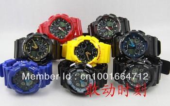 EMS Free Shipping,New Hot Sales PU Strap 9 Colors fashion Ga100,ga110,ga120 light Watches