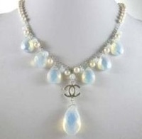 Saltwater White Pearl moonstone silver Necklace