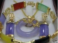 Real natural jade pendant necklace earring bracelet setCC
