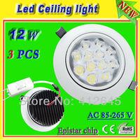 12w led ceiling kitchen light_free shipping aluminum white shell Epistar led ceiling light fixture ac85-265v warm white/positive